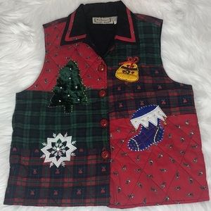 VTG 90s New Directions Christmas Vest with Bells
